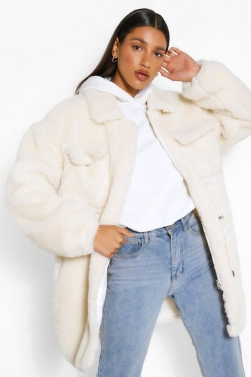 Cream white Longline Teddy Faux Fur Jacket