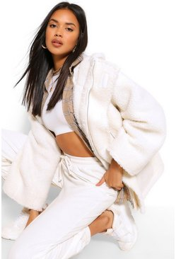 Ecru white Oversized Teddy Faux Fur Coat