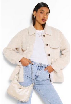 Cream Teddy Faux Fur Shacket