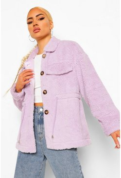 Lilac purple Teddy Faux Fur Shacket