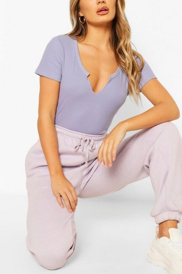 Lavender purple Cut Out V Neck T-Shirt