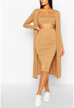 Camel beige 3 Piece Duster Bandeau & Skirt Two-Piece Set