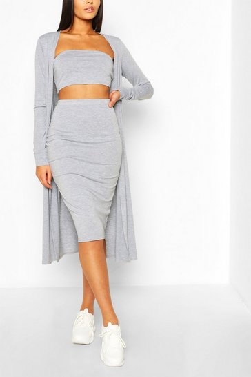 Grey marl grey 3 Piece Duster Bandeau & Skirt Co-ord Set