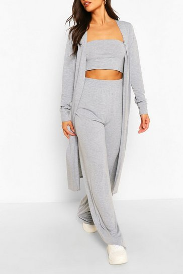 Grey marl grey 3 Piece Duster Bandeau & Trouser Co-ord Set