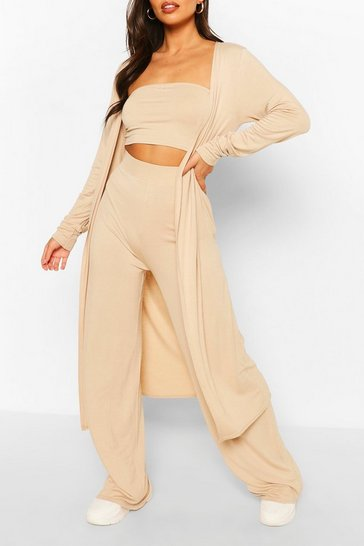 Stone beige 3 Piece Duster Bandeau & Trouser Co-ord Set