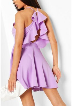 Lilac Ruffle Back High Neck Skater Dress
