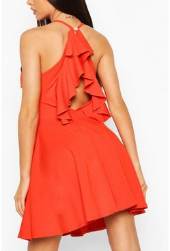Orange Ruffle Back High Neck Skater Dress