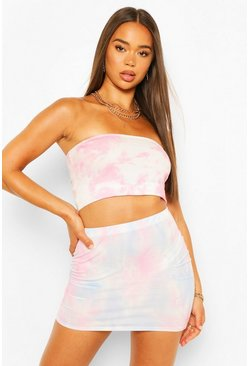 Pale blue blue Pastel Tie Dye Basic Bodycon Mini Skirt