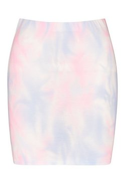 Pale blue Pastel Tie Dye Basic Bodycon Mini Skirt