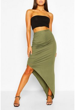 Khaki Ruched Side Jersey Maxi Skirt