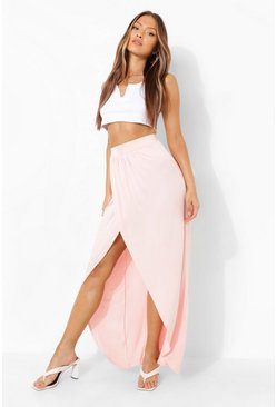 Nude Jersey Ruched Front Split Side Maxi Skirt