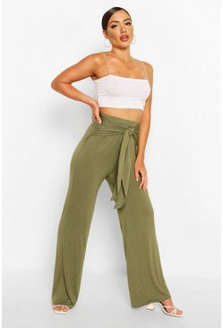 Khaki Ruched Back Tie Waist Wide Leg Trousers