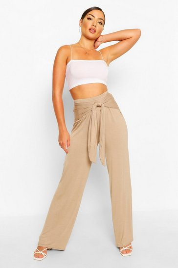 Oatmeal Ruched Back Tie Waist Wide Leg Trousers