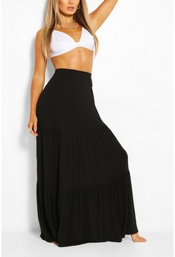 Black Tiered Jersey Floor Sweeping Maxi Skirt