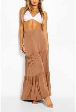Camel beige Tiered Jersey Floor Sweeping Maxi Skirt