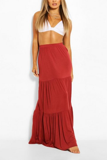 Terracotta Tiered Jersey Floor Sweeping Maxi Skirt