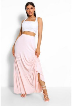 Nude Tiered Jersey Sweeping Floor Maxi Skirt