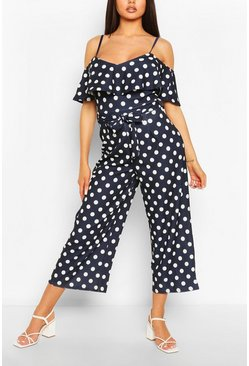 Navy Polka Dot Cold Shoulder Wide Leg Belted Jumpsuit