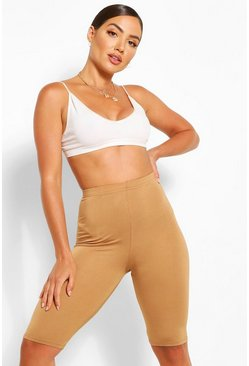 Camel beige Jersey High Waist Longline Cycling Short