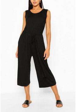 Black Sleeveless Jersey Belted Culotte Jumpsuit