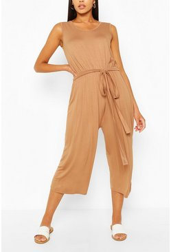 Camel beige Sleeveless Jersey Belted Culotte Jumpsuit