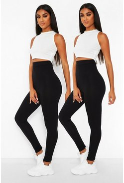 Black 2 Pack Core Highwaist Basic Jersey Leggings