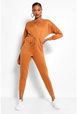 Camel beige Wrap Over Loopback Sweat Jumpsuit