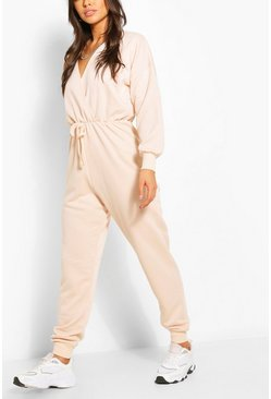 Ecru white Wrap Over Loopback Sweat Jumpsuit