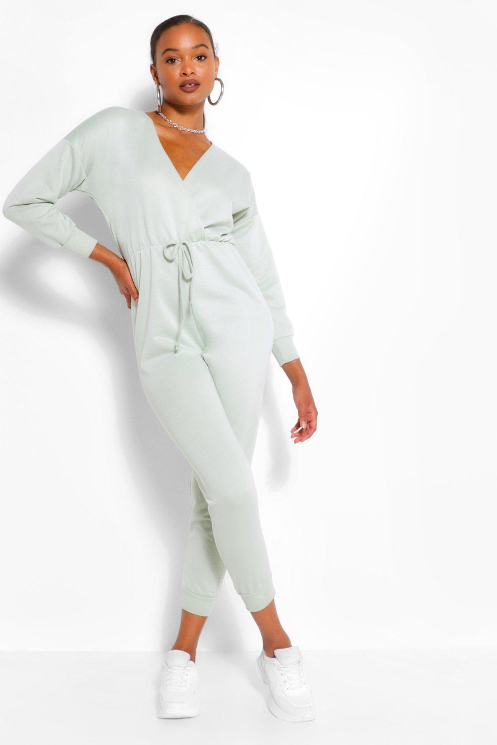 Playsuits & Jumpsuits Wrap Over Loopback Sweat Jumpsuit