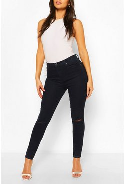 Indigo blue High Rise Ripped Knee Stretch Skinny Jean