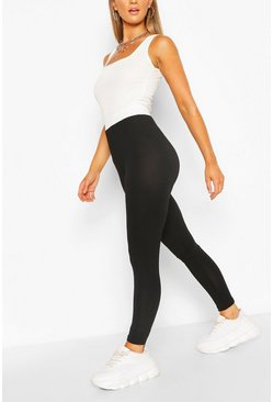 Black Contrast Waistband Basic Jersey Leggings