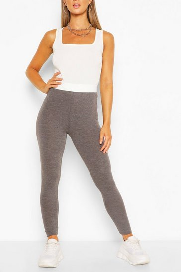 Charcoal Contrast Waistband Basic Jersey Leggings