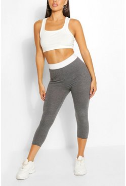 Charcoal grey Contrast Waistband 3/4 Basic Jersey Leggings
