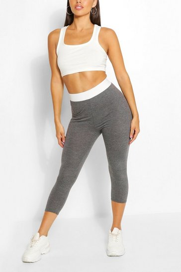 Charcoal Contrast Waistband 3/4 Basic Jersey Leggings