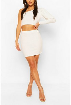 White Puff One Shoulder Top And Mini Skirt Two-Piece Set