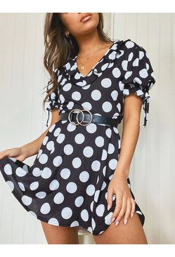 Black Polka Dot Tie Sleeve Detail Tea Dress