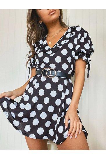 Black Polka Dot Tie Sleeve Detail Tea Dress