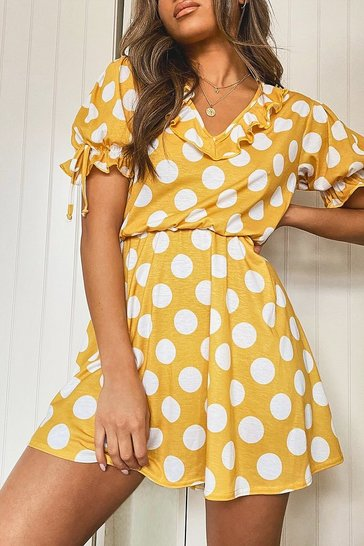 Mustard yellow Polka Dot Tie Sleeve Detail Tea Dress