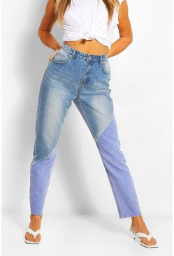 Mid blue blue Colour Block High Rise Mom Jean