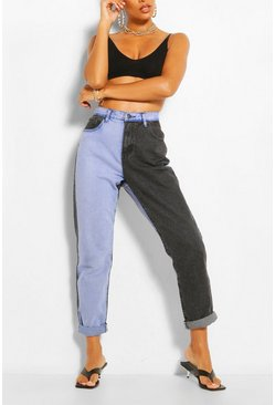 Light blue blue Contrast High Rise Mom Jean