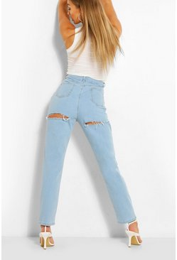 Light blue blue High Waist Back Rip Jeans