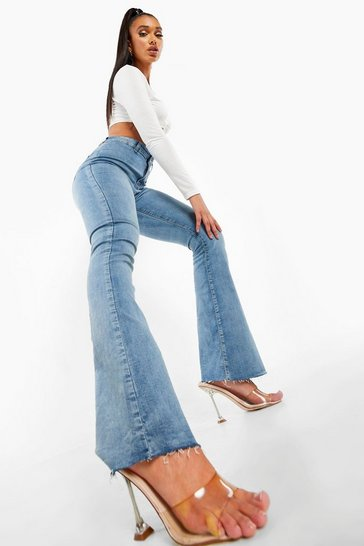 Mid blue blue High Rise Stretch Flare Jean