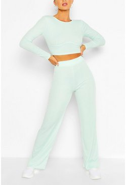 Duck egg blue Seam Rib Top & Wide Leg Trouser Co-ord Set