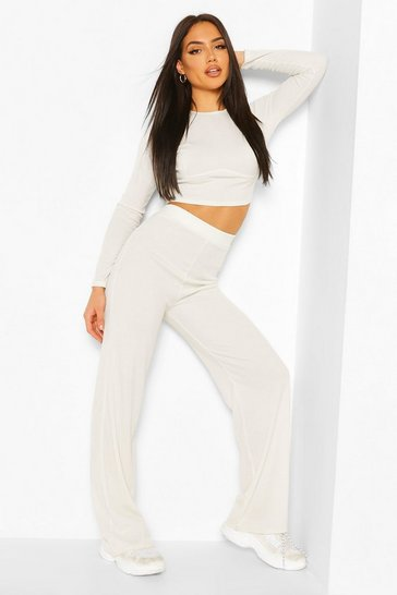 Ecru white Seam Rib Top & Wide Leg Trouser Co-ord Set