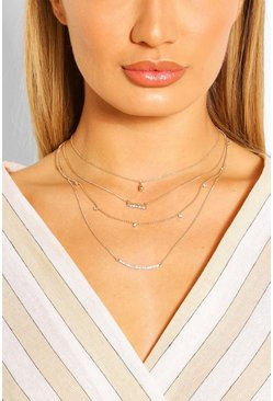 Gold metallic Diamante Layered Necklace