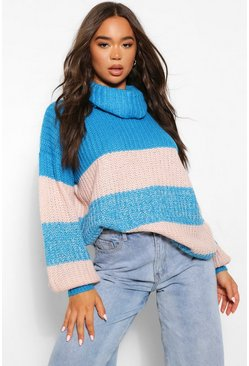 Electric blue blue Roll Neck Ombre Jumper
