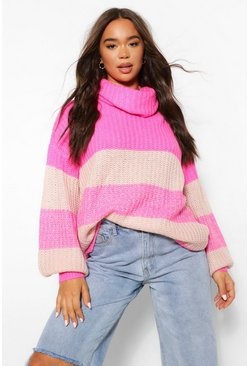 Pink Roll Neck Oversized Ombre Jumper