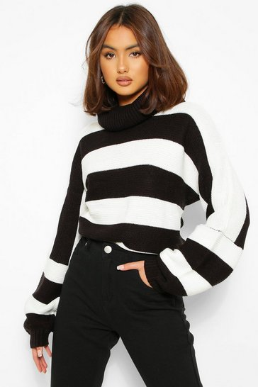 Black Roll Neck Striped Knitted Jumper