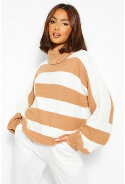 Tan brown Roll Neck Striped Knitted Jumper