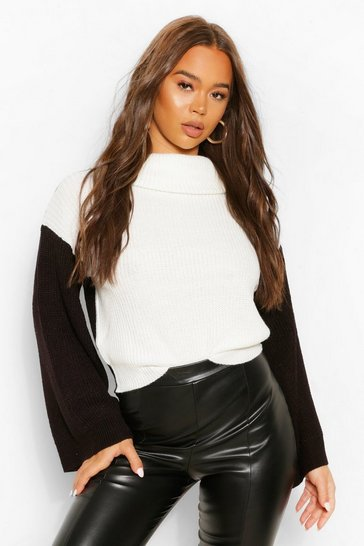 Black Colour Block Contrast Flare Sleeve Jumper